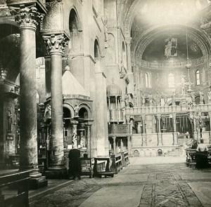 Italie venise Intérieur de l'Eglise San Marco Ancienne Stereo SIP Photo 1900