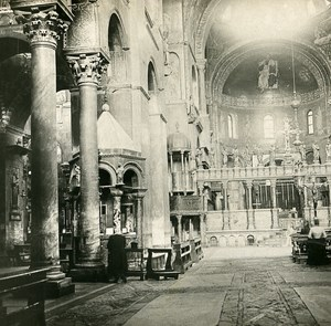 Italy Venezia San Marc Church Interior Old SIP Stereo Stereoview Photo 1900