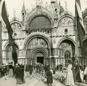Italy Venezia St Mark's Basilica on Sunday Old SIP Stereo Stereoview Photo 1900