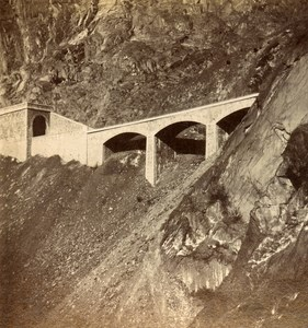 France Alps Viaduct of Clapisse Railway Old Stereo Photo Stereoview E C 1880