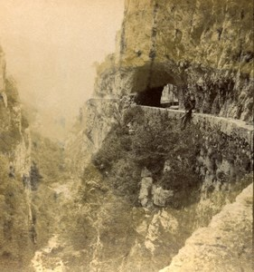 France Alps Road of Grand Goulets Old Stereo Photo Stereoview E C 1880
