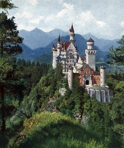 Germany Neuschwanstein Old Autochrome on Paper from Hans Hildenbrand 1910