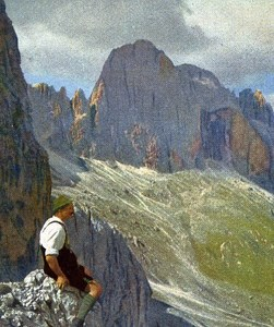 Italy Dolomites Cigolade Old Autochrome on Paper from Hans Hildenbrand 1910