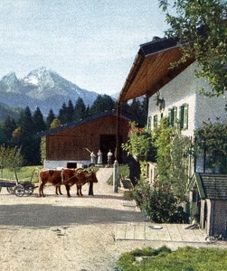 Germany Farm Berchtesgaden Old Autochrome on Paper from Hans Hildenbrand 1910