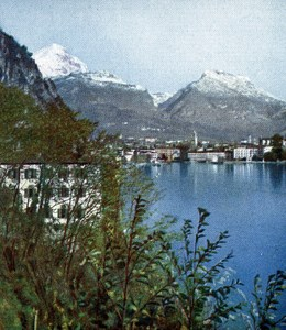Lake Garda Riva Autumn Old Autochrome on Paper from Hans Hildenbrand 1910