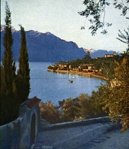 Lake Garda Malcesine Autumn Autochrome on Paper from Hans Hildenbrand 1910
