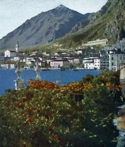 Lake Garda Limone Autumn Autochrome on Paper from Hans Hildenbrand 1910
