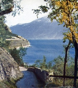 Lake Garda Limone Autumn Autochrome on Paper from Hans Hildenbrand 1910