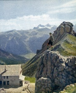Dolomites Ostertaghutte Old Autochrome on Paper from Hans Hildenbrand 1910