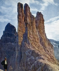 Dolomites Vajolet Towers Old Autochrome on Paper from Hans Hildenbrand 1910