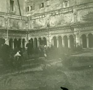 Italy Naples Napoli Cloister of a convent Old Possemiers Stereo Photo 1910