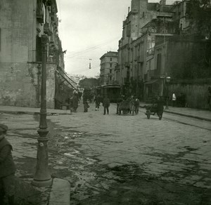 Italy Naples Napoli Corso Garibaldi Old Possemiers Stereo Photo Stereoview 1910