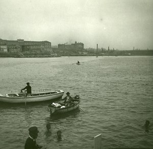 Italy Naples Napoli Swimmers in the Bay Old Possemiers Stereo Photo 1910