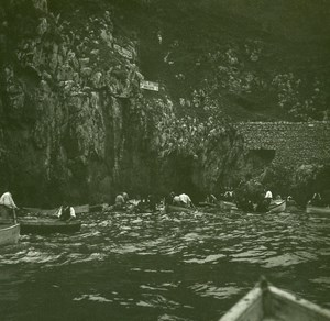 Italy Capri near the Blue Grotto Old Possemiers Stereo Photo Stereoview 1910