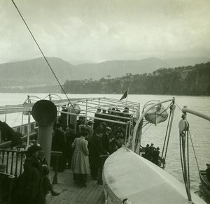 Italy Departure from Sorrento Saloon Steamer Old Possemiers Stereo Photo 1910