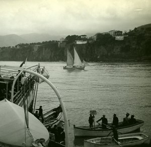 Italy Sorrento Cruise Passengers Landing Hotel Old Possemiers Stereo Photo 1910