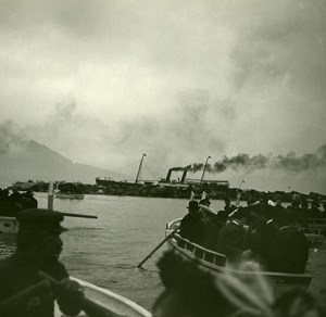 Italy Naples Boats going to Saloon Steamer Old Possemiers Stereo Photo 1910