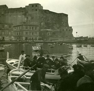 Italy Naples Napoli Boarding at Santa Lucia Old Possemiers Stereo Photo 1910