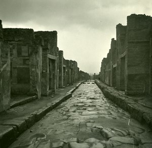 Italy Pompeii Pompeii Strada di Mola Old Possemiers Stereo Photo Stereoview 1910