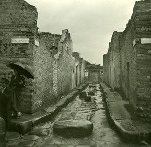 Italy Pompeii Pompeii Vicolo di Mercurio Old Possemiers Stereo Photo 1910