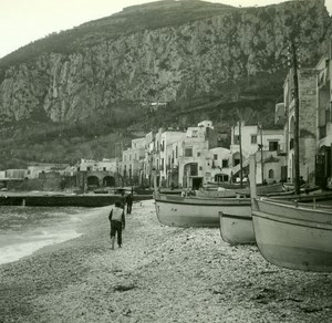 Italy Capri Marina Grande Old Possemiers Stereo Photo Stereoview 1910