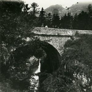 France Pyrenees Cauterets Spain Bridge Old Possemiers Stereo Photo 1910