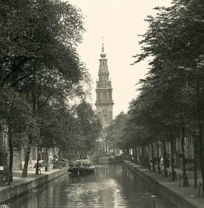 Netherlands Amsterdam Groenburgwal Old NPG Stereo Stereoview Photo 1900