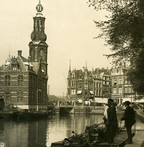 Netherlands Amsterdam Money Tower Old NPG Stereo Stereoview Photo 1900