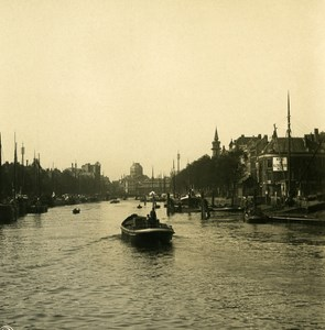 Netherlands Rotterdam New Harbour Old NPG Stereo Stereoview Photo 1900