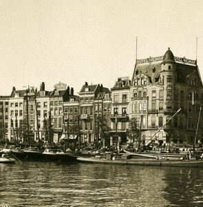 Netherlands Rotterdam Antiquity Harbour Old NPG Stereo Photo Stereoview 1900