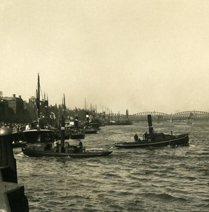 Netherlands Rotterdam New Dock Old NPG Stereo Photo Stereoview 1900
