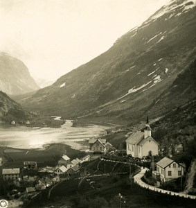 Norway Hellesylt Panorama Old NPG Stereo Photo Stereoview 1900