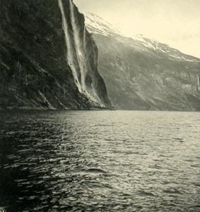 Norway Geirangerfjord Panorama Old NPG Stereo Photo Stereoview 1900