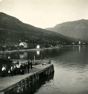 Norway Leikanger Sognefjord Old NPG Stereo Photo Stereoview 1900