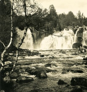 Norway Lillehammer Falls Old NPG Stereo Photo Stereoview 1900