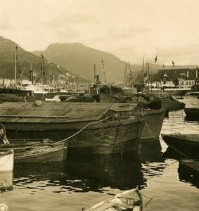 Norway Bergen Harbor Old NPG Stereo Photo Stereoview 1900