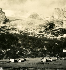 Italy Alps Dolomites Mount Marmolata & Gampitello Old NPG Stereo Photo 1900
