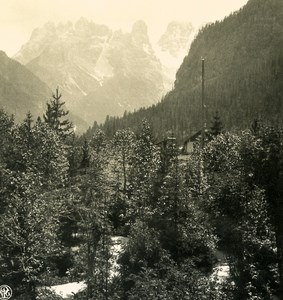 Italy Alps Dolomites Monte Cristallo Old NPG Stereo Photo Stereoview 1900