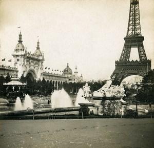 France Paris World Fair Champ de Mars Eiffel Tower Old Stereoview Photo SIP 1900