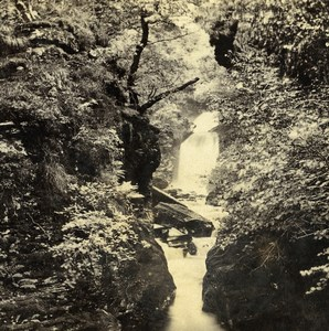 UK North Wales Ffestiniog Falls of the Cynfael Old Stereoview Photo Bedford 1865