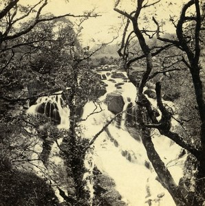 UK North Wales Betws-y-Coed Upper Falls Old Stereoview Photo Bedford 1865