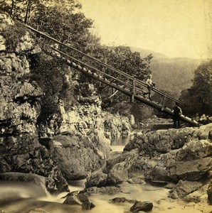 UK North Wales Betws-y-Coed Miner Bridge Old Stereoview Photo Bedford 1865