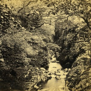 UK North Wales Betws-y-Coed Glen on Machno Old Stereoview Photo Bedford 1865