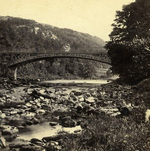 UK North Wales Betws-y-Coed Waterloo Bridge Old Stereoview Photo Bedford 1865