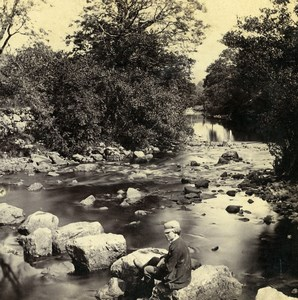 UK North Wales Bettws Y Coed Llugwy Old Stereoview Photo Bedford 1865