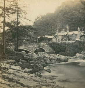 UK North Wales Bettws Y Coed Pont Y Pair Old Stereoview Photo Bedford 1865