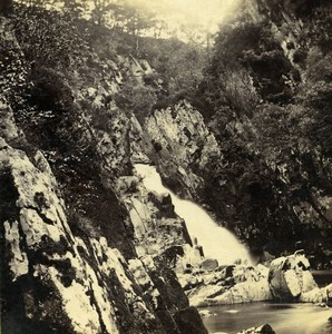 UK North Wales Betws-y-Coed Falls of the Conway Stereoview Photo Bedford 1865
