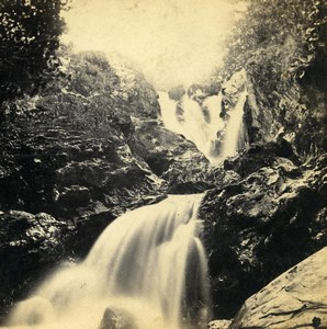 UK North Wales Betws-y-Coed Falls of the Machno Stereoview Photo Bedford 1865