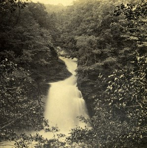 UK North Wales Maentwrog Rhayadr Du Old Stereoview Photo Bedford 1865