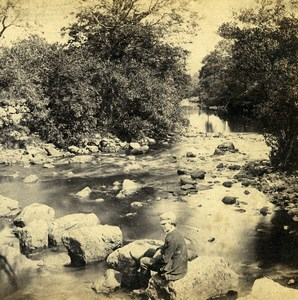 UK North Wales Betws-y-Coed Llugwy River Old Stereoview Photo Bedford 1865